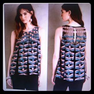Anthropologie Akemi + Kin Embroidered Swing Top
